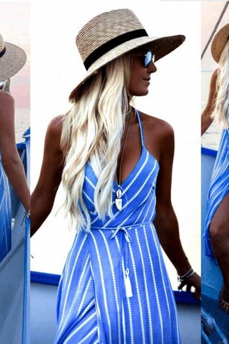 S-XL Women's Clothing European and American Fashion Print Striped Halter Sling Irregular Women's Dress