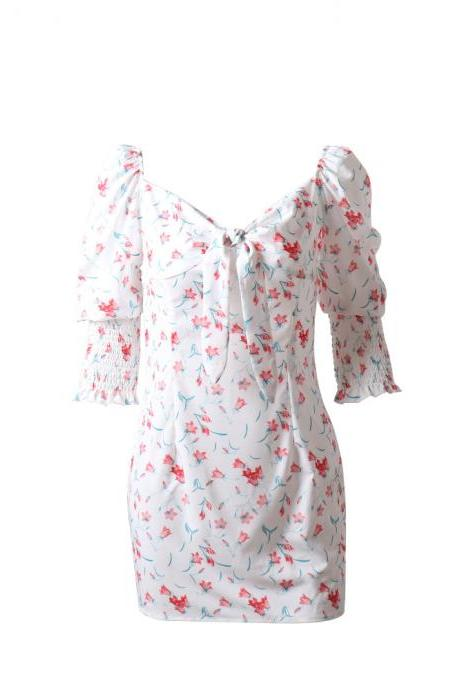 S-XL women's clothing Europe and the United States new pleated floral sleeves V-neck fashion dress