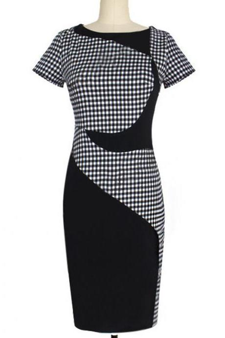 S-XXXL Women's clothing Europe and the United States new black and white plaid stitching Slim thin elastic bag hip pencil skirt dress