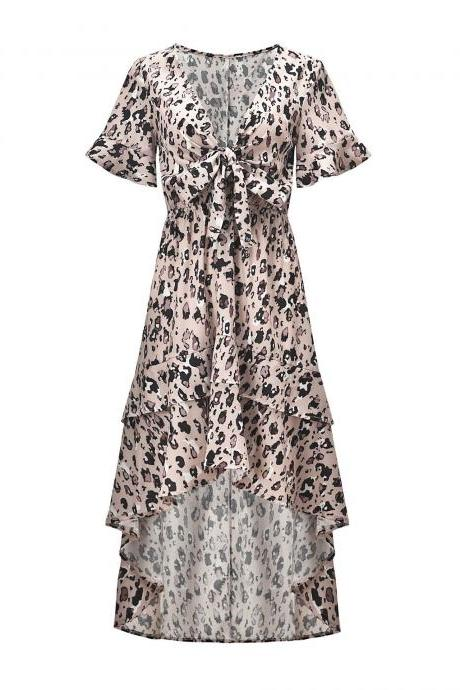 S-XL women's clothing Europe and the United States new leopard print short-sleeved V-neck bow tie irregular swallowtail chiffon dress
