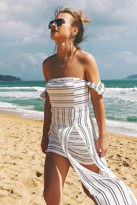 S-XXL women's clothing European and American fashion new sexy tube top backless striped chiffon dress irregular slit dress