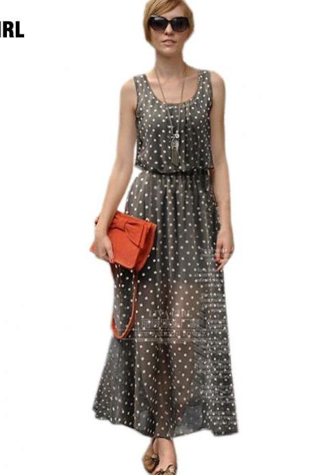 S-XXXL Women's clothing Europe and the United States fashion new wave point off the shoulders waist polka dot sleeveless chiffon vest dress